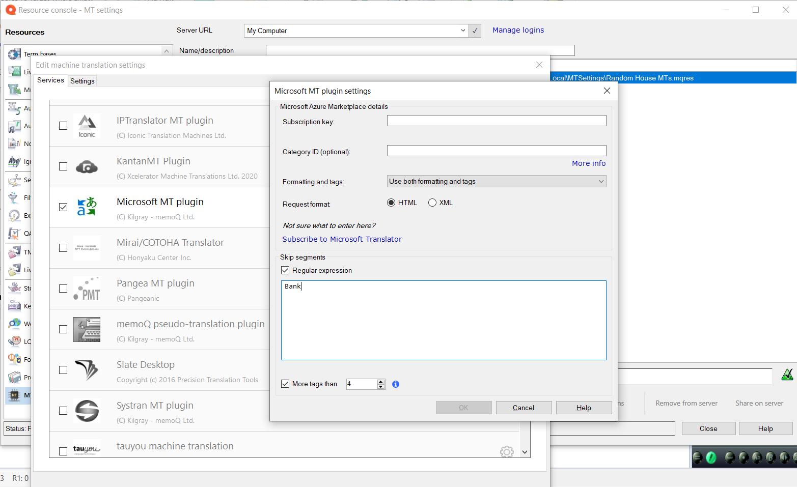 Microsoft MT Plugin